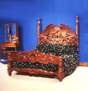 Custom Made Hand Carved, Mahogany Bed