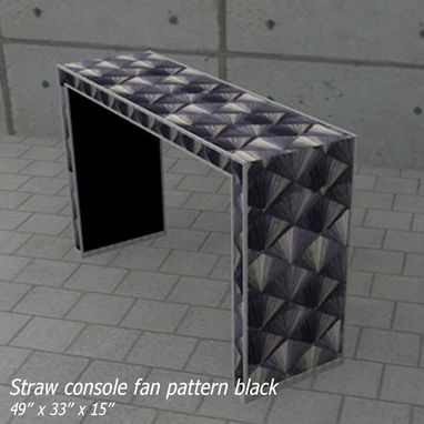 Custom Made Black Straw Marquetry Fan Console In The Style Of Jean Michel Frank