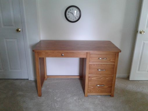 Custom Made Hardwood Desk With Four Drawers And File Cabinet