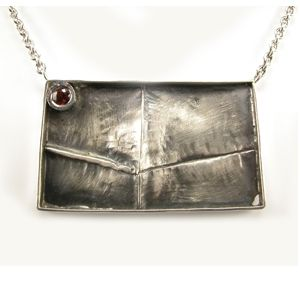 Custom Made Sterling Silver Fold Formed Necklace With Spessartine Garnet