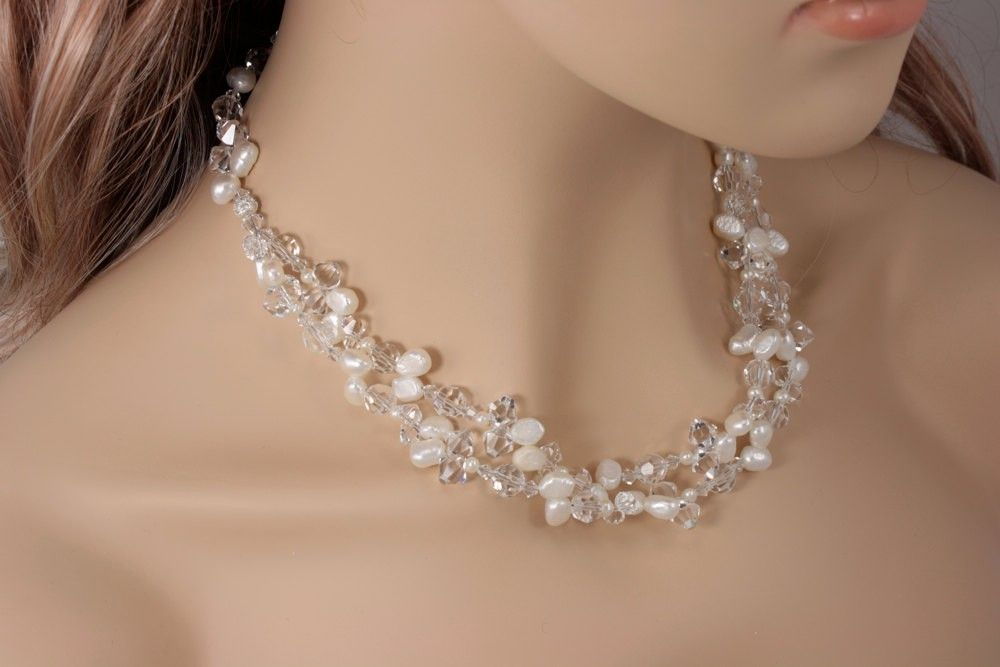 Custom Made Chunky Bridal Necklace Statement Wedding Crystal And Freshwater Pearl