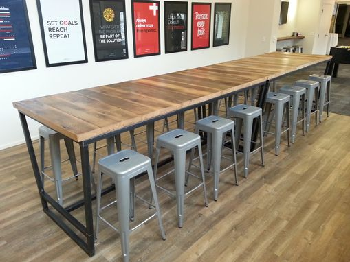 Custom Made Reclaimed Wood And Steel Industrial High Top Conference Table