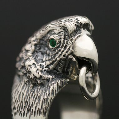 Custom Made Sterling Silver Emerald Parrot Ring