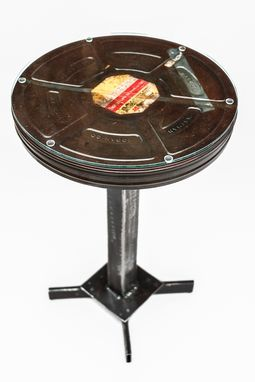 Custom Made Large Film Canister End Table With Glass Top
