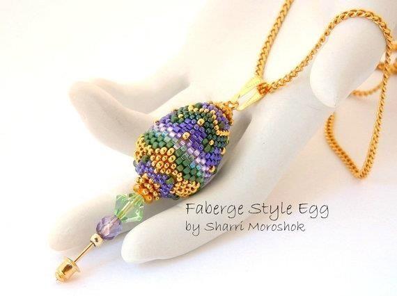 Custom faberge egg beaded pendant necklace stick pin by the beaded custom made faberge egg beaded pendant necklace stick pin aloadofball Images