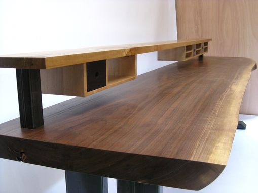 Custom Made Walnut Slab Desk With Shelving And Drawers