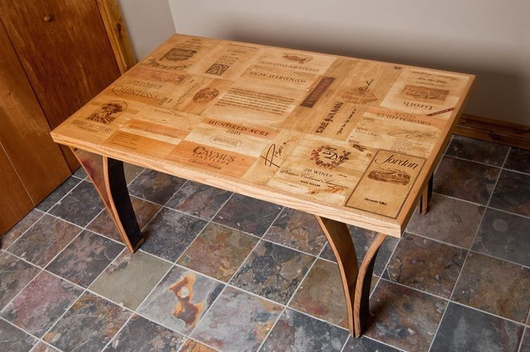 Custom wine crate table with stave legs by alpine wine What to do with wine crates