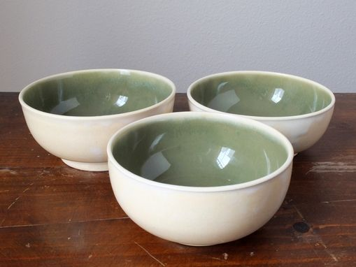 "Custom Made Ceramic Bowls Wheel Thrown Pottery In ""Ivory Sencha"""