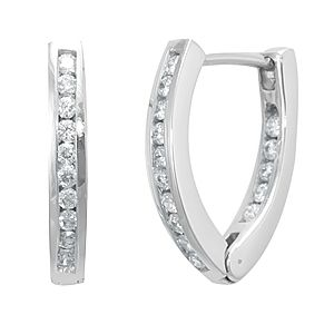 Custom Made Diamond In And Out Hoop Earrings, Diamond Hoop Earrings In 14k White Gold