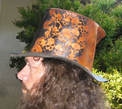 Custom Made Leather Tophat With Skulls - Tan & Black