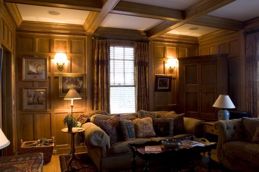 Paneled Study: Hand Made Quartered Oak Paneled Study By Albert S. Grant