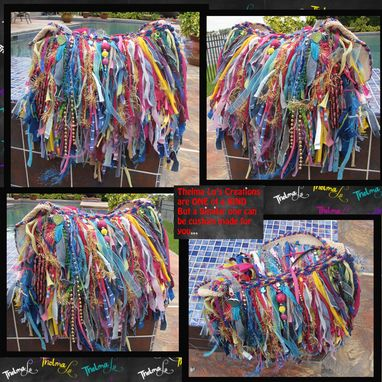 Custom Made Upcycled Fringe Handbag,Playful Funky,Mixed Colors,Bling,Sparkle,Beads,Bag,Custom Made