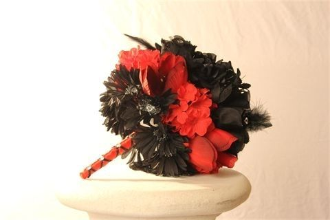 Custom Made Black Rose And Red Rose Goth Brides Bouquet