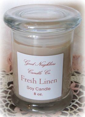 Custom Made Fresh Linen, Soy Candle, 8 Ounce, Lidded Glass Jar, Tan, Fresh And Clean