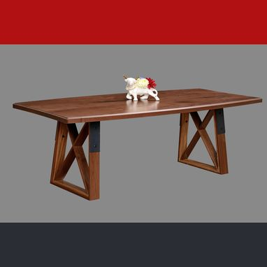 Custom Made Dragonfly Dining/Conference Table ~ Industrial Modern Walnut Bow Top
