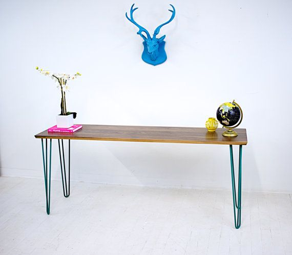 Custom Made Walnut Console Table Teal Hairpin Legs Mid Century Modern Or Sofa