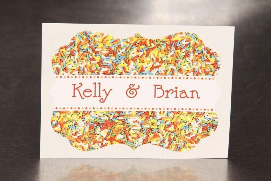Custom made custom wedding stickers die cut sprinkles guest bag labels candy bar