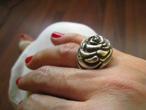 Custom Made Sculpture Rose Metalwork Flower Ring