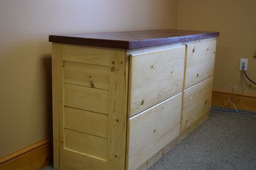 Custom Made 4 Drawer Credenza File Cabinet In Knotty Pine, With Concrete Countertop