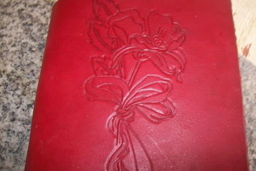 Custom Made Custom Leather Photo Album With Rose And Ribbon Design In Red
