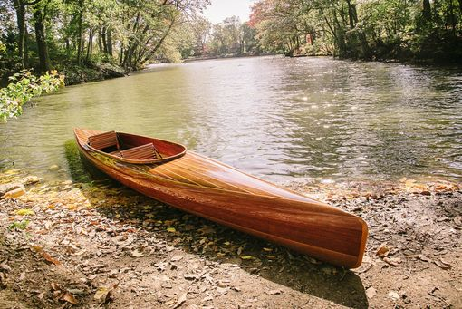 Hand Made Wooden Strip Kayak Micro Bootlegger Design By