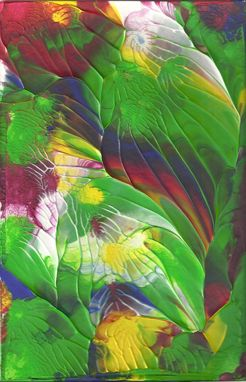 "Custom Made Abstract Acrylic Painting On White Mat ""Tropical''"