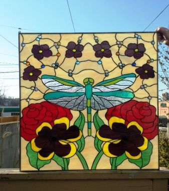 "Custom Made Stained Glass Hanging Panel -  ""Iridescent Dragonfly"" (P-42)"