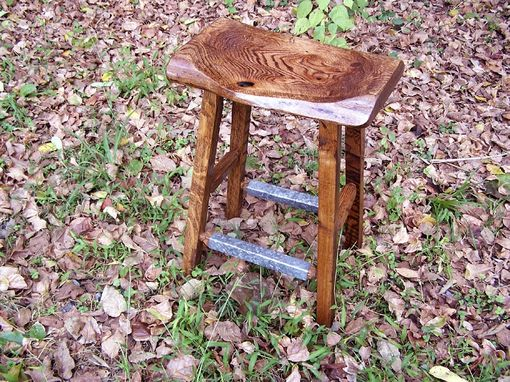 Custom Made Reclaimed Oak Live Edge Bar Stools With Salvaged Metal Trim