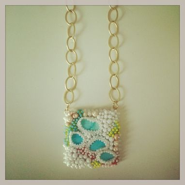 Custom Made Seed Bead Embroidered Coral Necklace