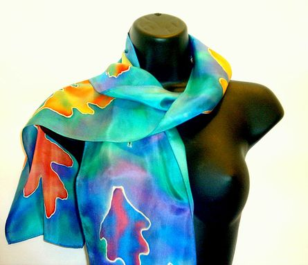 Custom Made Hand Painted Fall Leaves Scarf