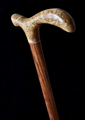Custom Made Handmade Copper Candy Walking Cane In Birdseye Maple, Bubinga, And Copper