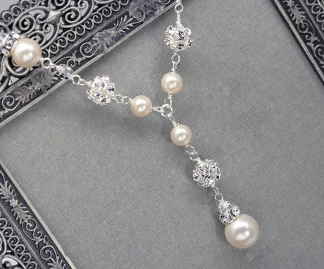 Custom Made Pearl And Rhinestone Bridal Y Drop Necklace