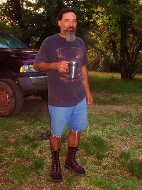 Custom Made Fredrick R. In His Burgundy Buffalo Leather And Shark Skin Work And Ridding Boots