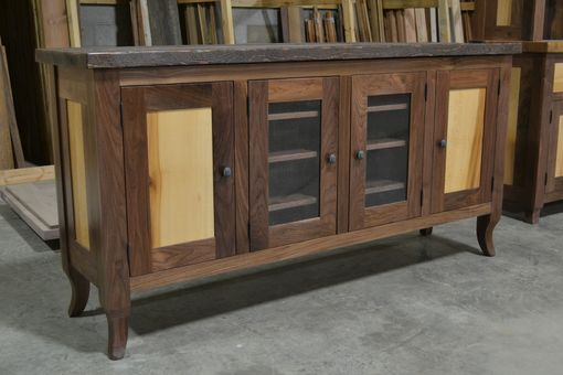 Custom Made Walnut And Sycamore Media Cabinet