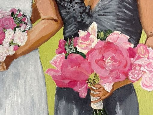 Custom Made Bridal Party With Bouquets Acrylic Painting