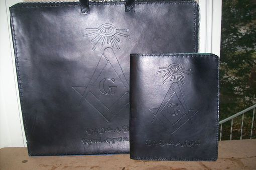 Custom Made Custom Leather Masonic Apron Case With Matching Portflio