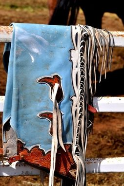 Custom Made Fine Art Photograph Of Leather Chaps On A Fence