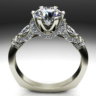 Custom Made Diamond And Trellis Designed Engagement Ring