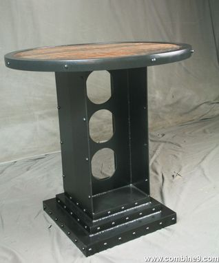 Custom Made Vintage Industrial Bistro Table. Industrial Round Table. Rustic, Reclaimed Wood.