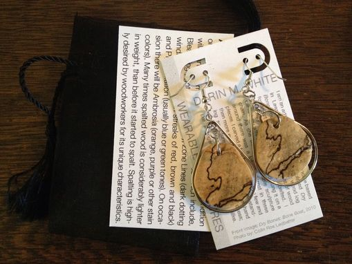 Custom Made Spalted Maple Wearable Sculpture Earrings With Sterling Silver