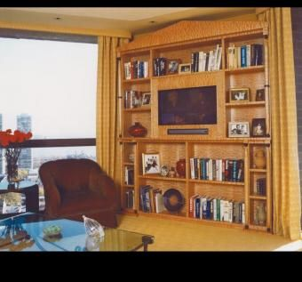 Custom Made Corner Tv Library Cabinetry