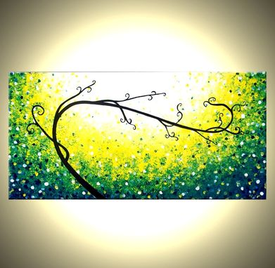 Custom Made Original Abstract Tree Painting, Green White Landscape Painting, Textured Tree Painting