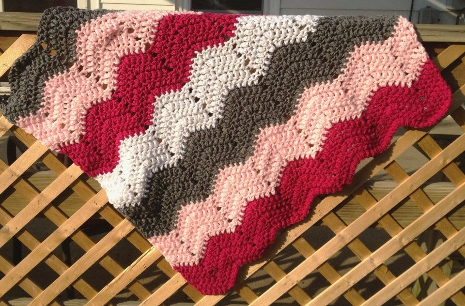 Custom Made Crochet Baby Blanket Pink Grey White Chevron