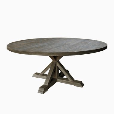 Custom Made Round Dining Table With Trestle Pedestal Leg