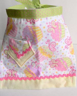 "Custom Made Pink, Green, And White Doll Apron With Cupcakes ""Lemon Meringue''"