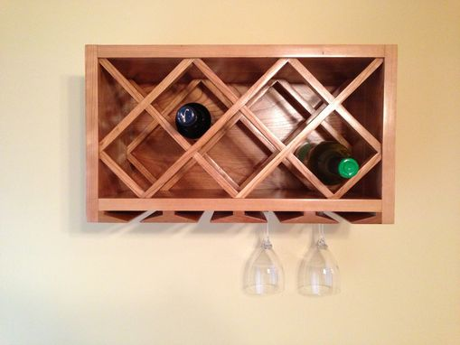 Custom Made Wall Mount Wine Rack And Glass Holder