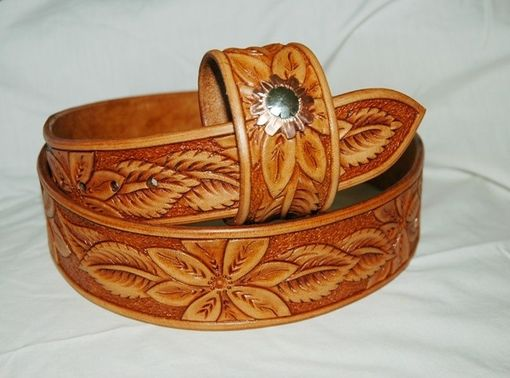 Custom Made Hand Tooled Leather Belt, Matching Bracelet - Your Size
