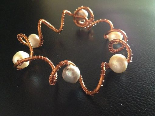 Custom Made Copper Wire And Pearls Headset - Coppre Wire And Pearls Necklace And Bracelet