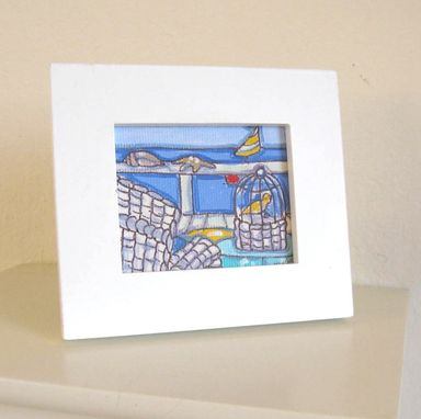 Custom Made Acrylic Beach Painting, Original Still Life Miniature On Canvas