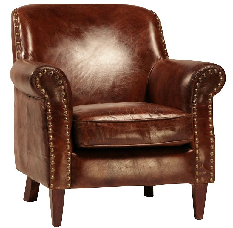 Custom Made Petite Leather Club Chair